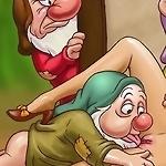 Horny Snow White lures her dwarfs into wild fucking