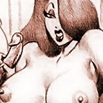 Incredible Jessica Rabbit with pierced breasts takes load